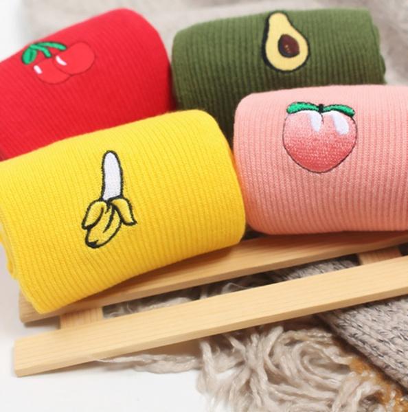 Kawaii, cartoonsock, embroiderysock, peach