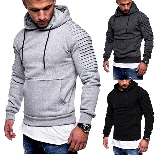 Mens Hoodie,MensAutumn Slim Solid Color Hooded Tops,Hoodies for Boys
