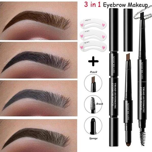 2pcs/set Fashion Women Makup Kit 3 In 1 Eyebrow Pen (Waterproof Brow Pencil  + Powder + Brush Black Brown Pigment Eyebrow Enhancers Tool) + Eyebrow