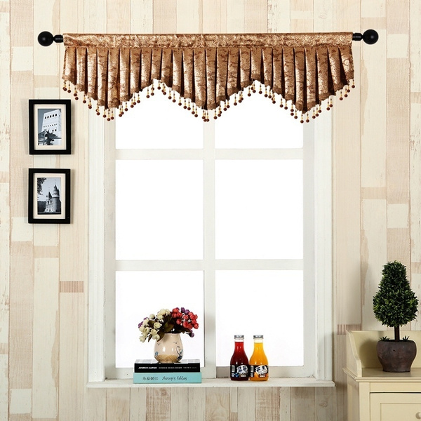 Luxury Pleated Curtain Valance for Living Room Short Valance Curtain for  Kitchen Beaded Scalloped Valance for Window(Rod Pocket,1 Piece)