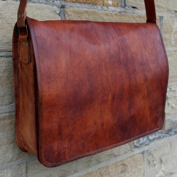 Bag Leather Men S Messenger Laptop Vintage Genuine Briefcase Satchel Handmade