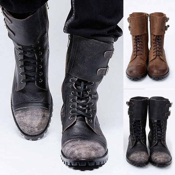 Mens Casual Pu Motorcycle Boots Vintage Buckle Leather Biker Boots