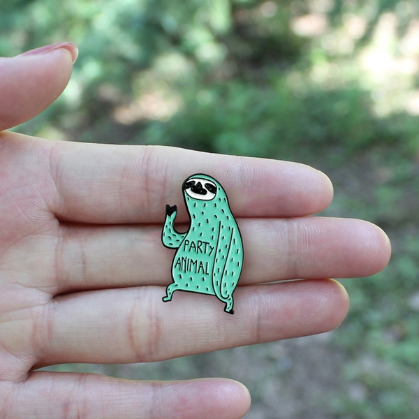 Sloth Pin Party Animal Lapel Pins Cute Mint Green Animal Sloth Enamel Badge  Funny Jewelry Gift for Friends