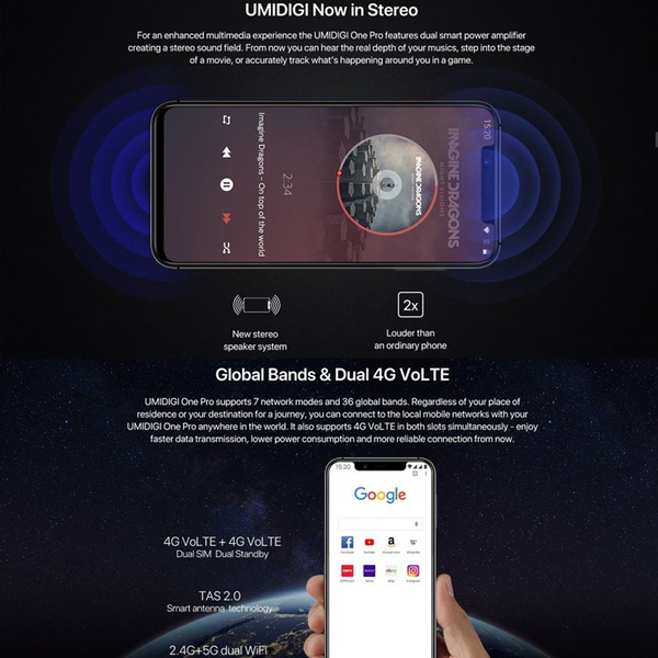 UMIDIGI One/ One Pro 5 9 inch 32GB/ 64GB 4G Unlocked Android 8 1 Smart  Mobile Phone Dual SIM Full Band Smart Phone, Support Fingerprint and Face  Lock