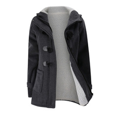 hooded, Winter, Coat, button