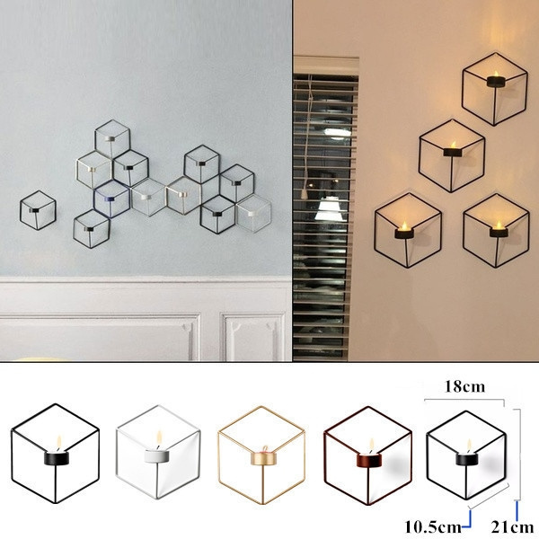 Nordic Style 3D Geometric Candle Holder Metal Candlestick Wall Sconce Home Decor