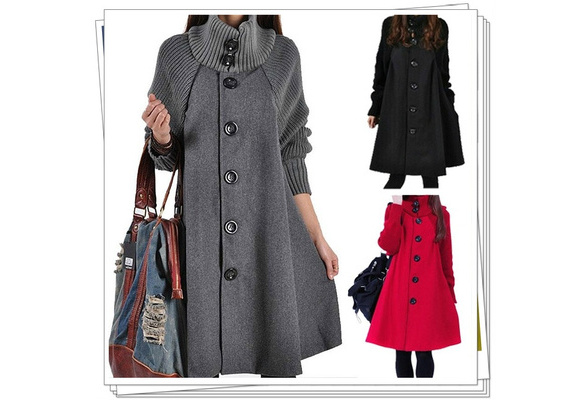 Coat Women Winter Casual Bat Loose Cotton Hoodies Stitching Korean Version Solid Color Long Coat