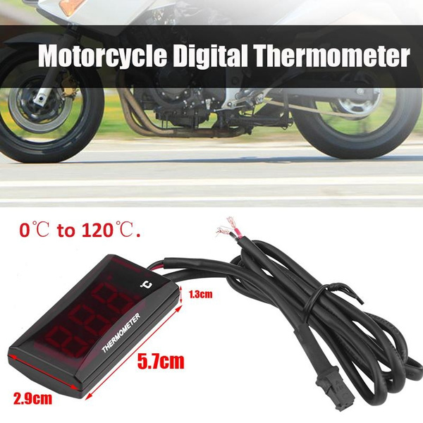 Red Motorcycle Thermometer Water Temp Temperature Gauge Meter Racing Scooter