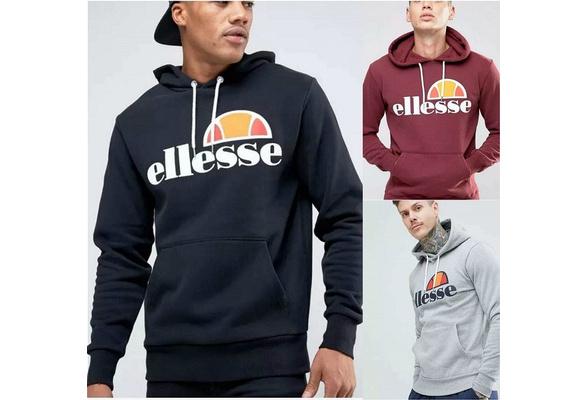 S-4XL 2018 New Mens Fashion Classics Ellesse Hoodies Sweatshirt  Slim Fit Autumn Sweater Round Neck Cotton Tops Casual Hoodies Plus Size S-4XL