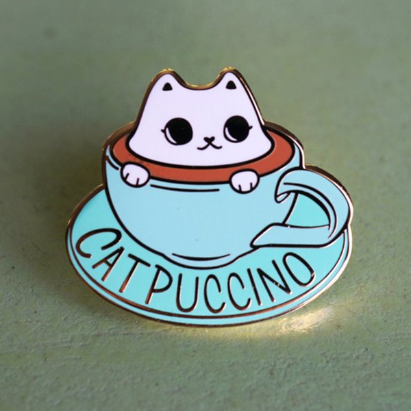 Cartoon Cute Cat Pin Coffee Mug Cup Brooch Pin Catpuccino Hard Enamel Lapel Pin Meow Coffee Lover Badge by Wish