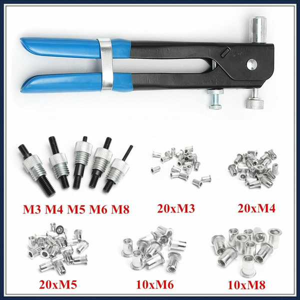 86Pcs Nut Rivet Insert Tool M3-M8 Nut Rivet Mandrels Threaded Rivet Nut  Inserts Wrench Riveter Rivnut Nutsert Riveting Kit with Case