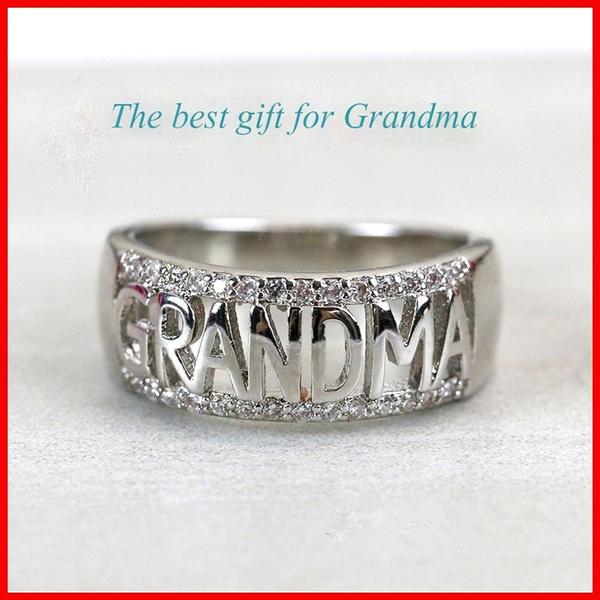 925 sterling silver ring grandma letter diamond ring jewelry family  birthday lady best gift ring ring size (USA) 5-11