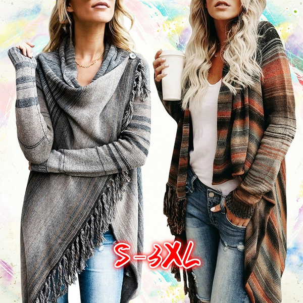 6cf0d4187 Women Irregular Knitted Cardigan Loose Sweater Outwear Jacket Poncho Coat  DBT