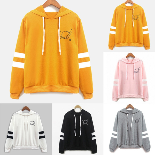 79a4d8ef377 Planet Print Off Shoulder Hoodie Women Yellow Pullovers 2018 Spring Autumn  Ladies Hooded Full Sleeve