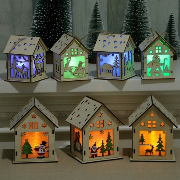Tree, woodenhouselamp, lednightlight, Christmas