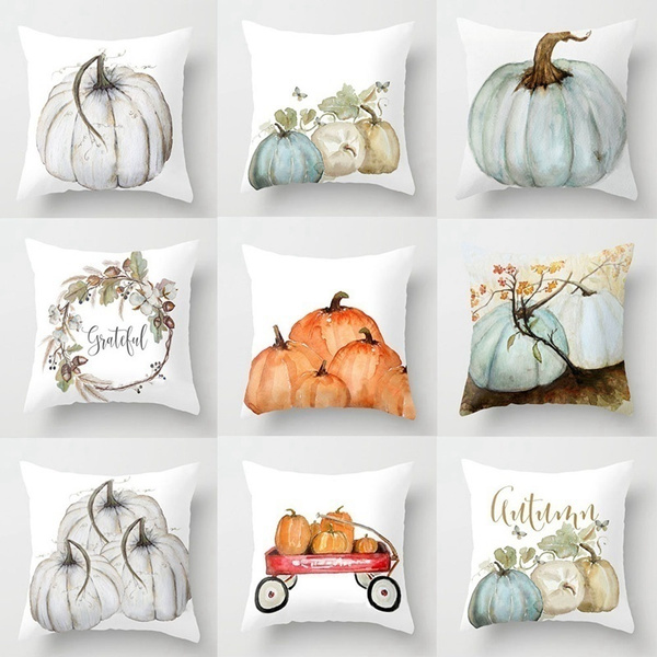 High Quality watercolor pumpkin Cushions Cover Heart Halloween Home Pillow Cover