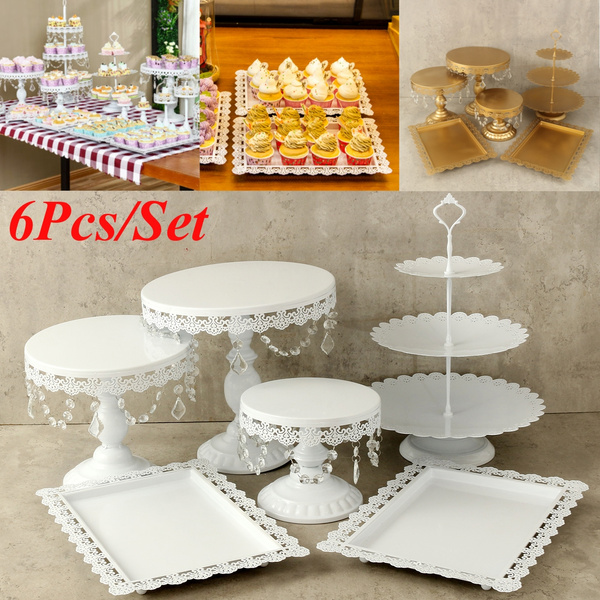 White Gold 6 Pieces Crystal Cake Stand Set Cupcake Dessert Candy Display Holder Christmas Party Birthday Wedding Decoration