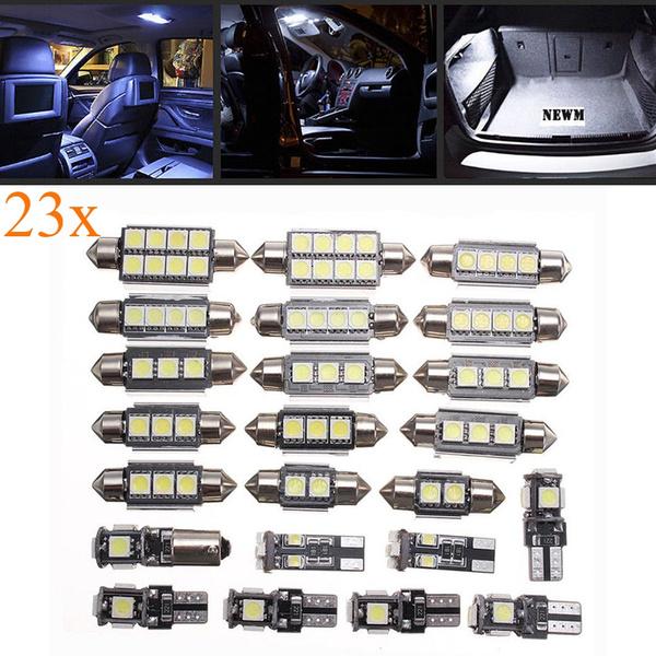 23Pcs LED White Car Inside Light Dome Trunk License Plate Lamp Kit Interior Bulb