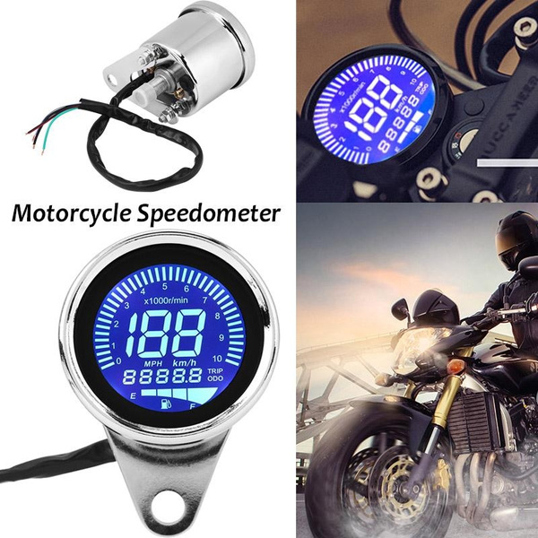 Motorcycle Speedometer-Retro Chrome Universal Motorcycle Digital LED LCD Speedometer Tachometer Speed Gauge
