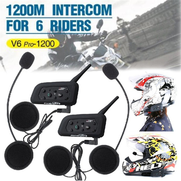 V6 Pro V4 Bluetooth Walkie Talkie Headset Motorcycle Bluetooth Helmet  Walkie Talkie Headset