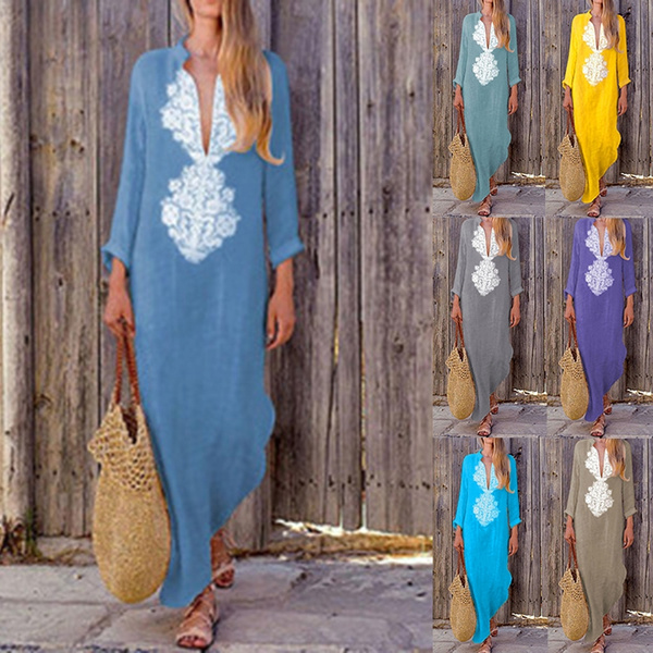 7 Colors Fashion Women Long Sleeve Lace Dress Sexy Long Dress Boho Loose V Neck Casual Loose Maxi Dresses Beach Dress Plus Size S 5xl