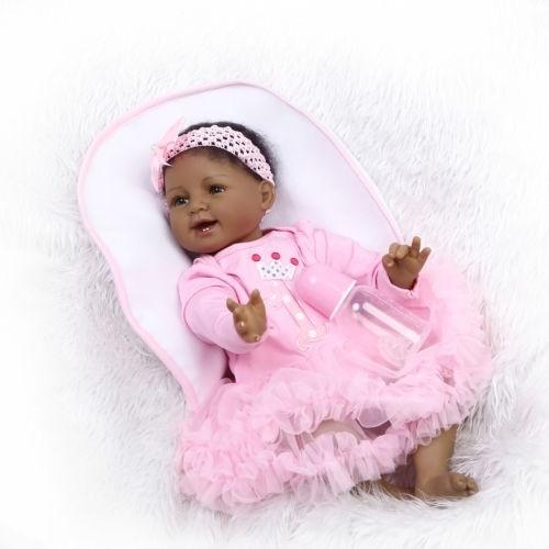 "Bicacial Reborn Baby Dolls Artist Handmade African American Girl 22/""//55cm Gifts"