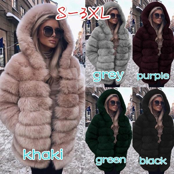 Fashion Faux Fur Long Overcoat Womens Soft Fur Thick Winter Warm Jacket Parkas