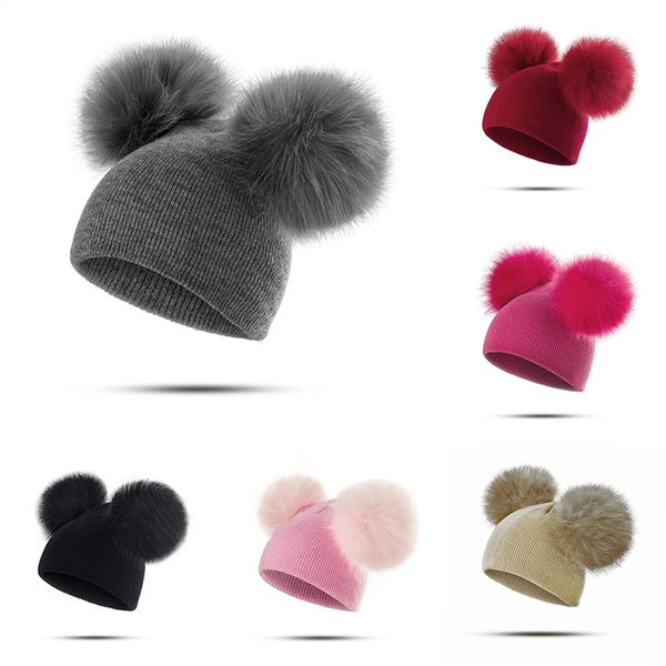 9a14ee65084 Fashion Autumn And Winter Pullover Cap Baby Double Ball Knit Hat ...