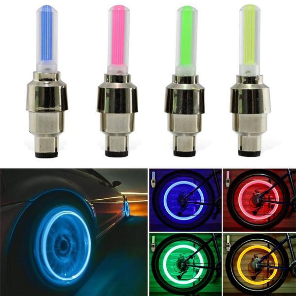 4pcs Car Bike Motorbicycle LED Lamp Neon Flash Spoke Tyre Wheel Valve Cap Light