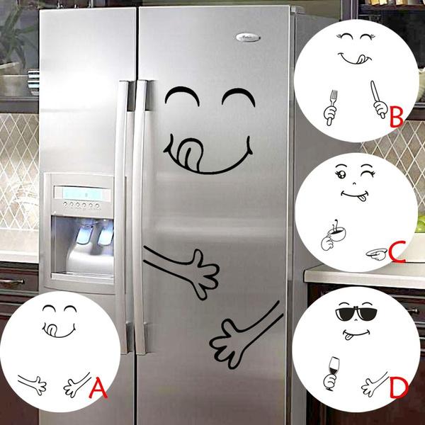 Autocollant Mignon Frigo Heureux D/élicieux Visage Cuisine R/éfrig/érateur Wall Stickers Art