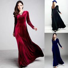 gowns, Plus Size, velvet, longsleeveddresse