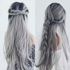 wig, cospay wig, black, rainbow