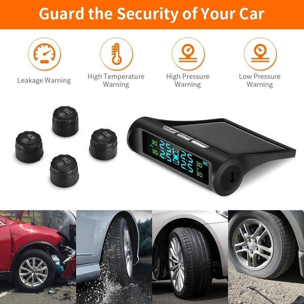 4 External Sensors Solar Wireless TPMS Tire Pressure LCD Monitoring System