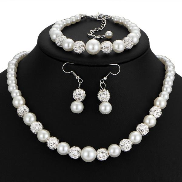 Women High End Bride Wedding Jewelry Set Fashion Pearl Diamond
