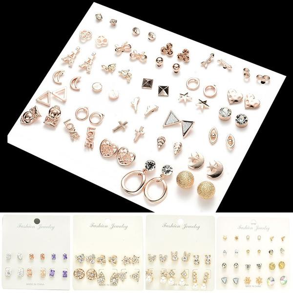 Colorful Zircon Rabbit Crown Heart Cross Earring Set Charms Crystal Star Moon Bowknot Eiffel Tower Pearls Studs Earrings Kit Women Jewelry Sets by Wish