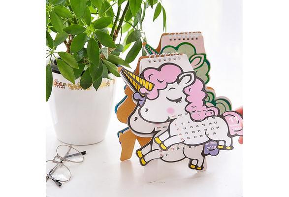 2019 Cute Unicorn Flamingo Pig Laser Mini Table Desktop Calendar Agenda Organizer Daily Schedule Planner 2018.10~2019.12 Calendar Calendars, Planners & Cards
