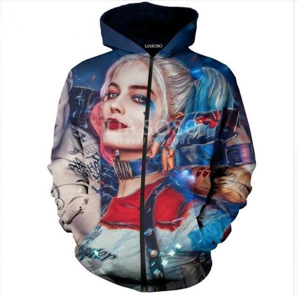 3D Print Women Men Suicide Squad Harley Quinn Joker Hooded Pullover Hoodies Sweatshirts Casual Zipper Jacket Coat X821
