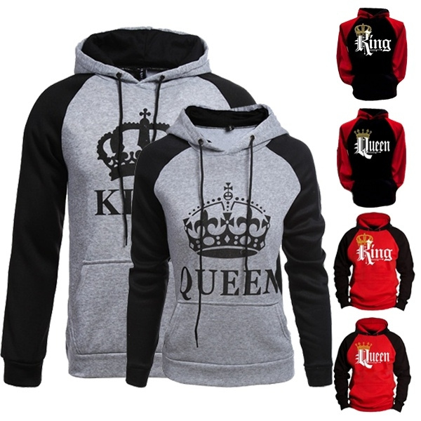 ccd0600cef8 Men Women Hoodie King and Queen Printed Couple Hoodie