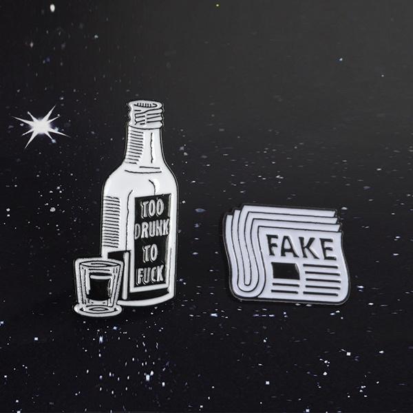 Punk Pin Newspaper Wine Bottle Lapel Pin TOOK DRUNK Fake Funny Enamel Badge  Rock Music Fans Gifts