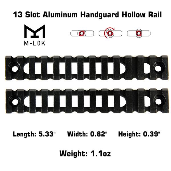 2PCS M-Lok Aluminum Handguard Rail 13 Slot Picatinny Weaver for MLOK