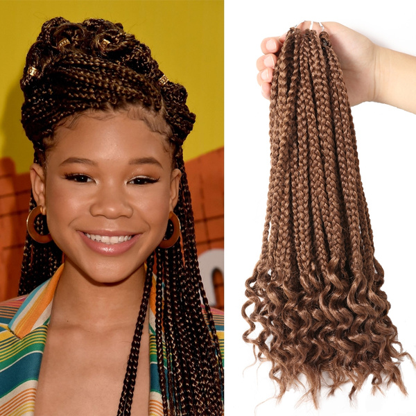 Box Braids Hair Extensions with Curly Ends Goddess Box Braids Hair  Extensions Kanekalon Fiber Braiding Hair Twist Wavy Ends(17 Inch,1pack)