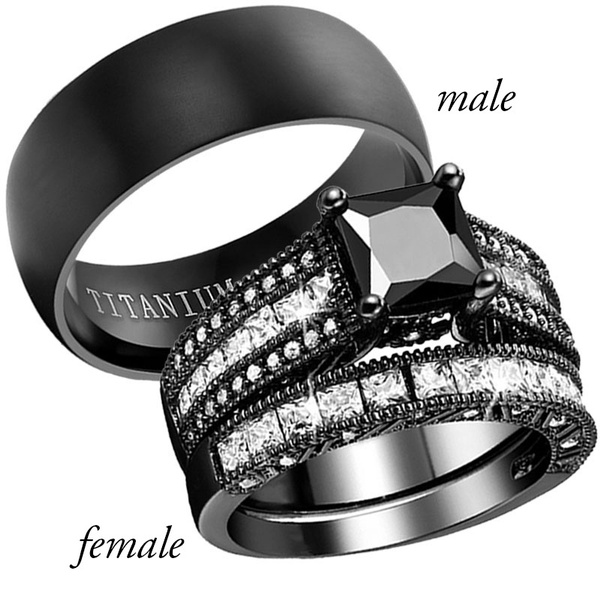 Black Gold Wedding Ring Sets