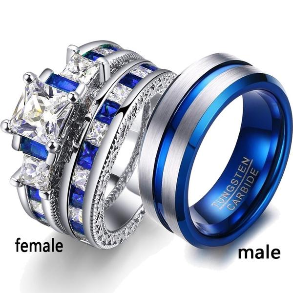 Sterling, Blues, DIAMOND, wedding ring