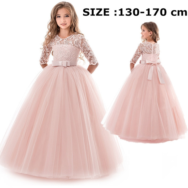 Teens Flower Girls Dress Lace Long Party Prom Bridesmaid Gown Children Clothes