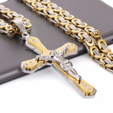 Steel, Stainless, Hombre, Cross necklace