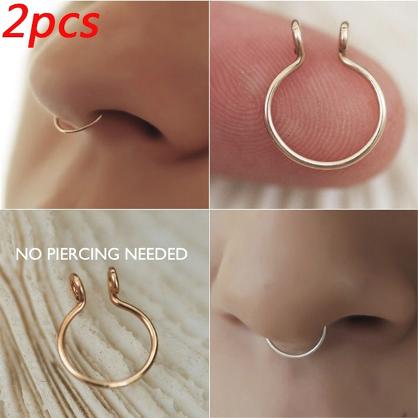 Diameter  Stainless Steel Faux Septum Fake Nose Ring Body Jewelry Cilp On Hoop