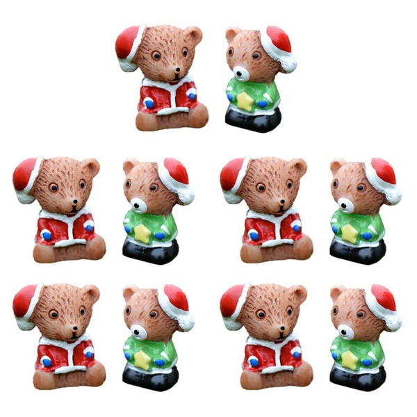10pcs Mini Animal Miniature Herisson Ours Arbre Noel En Resine Decoration Maison De Fee Micro Paysage Diy Ours