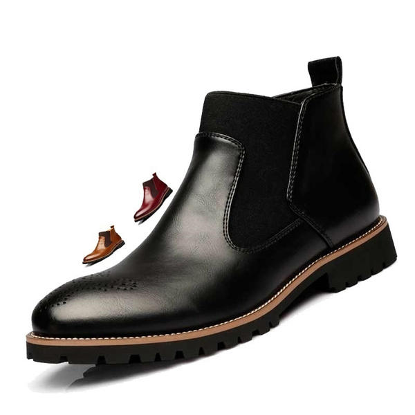 Sole Quality Genuine Boots Chelsea Shoes Plus 38 48 Bottes High Bullock Rubber British Leather Style Men's Chelsea BlackRedBrown Boots Ankle Size hQsBtrCdx