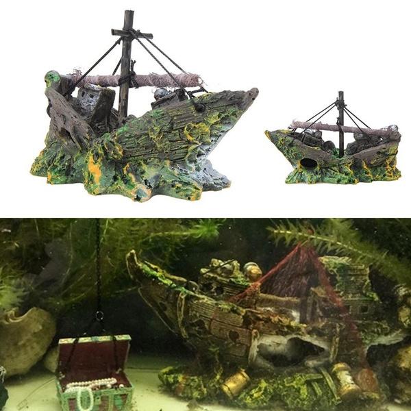 1pcs Creative Aquarium Artificial Ornament Resin Wreck Sailing