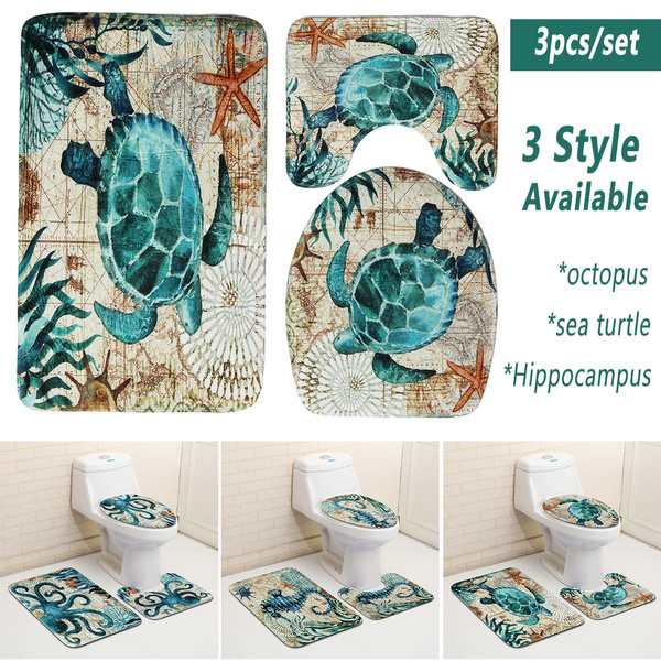 Super Accessories 3 Pcs Set Marine Style Toilet Seat Cover Set Sea Turtle Printed Bathr Mat Non Slip Washable Rug For Bathroom Uwap Interior Chair Design Uwaporg